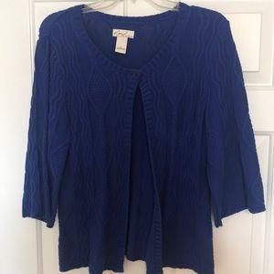 Ladies blue cardigan sweater